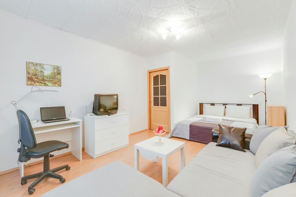 Общий вид комнаты: диван, кровать, письменный стол, стул, комод, телевизор, роутер.