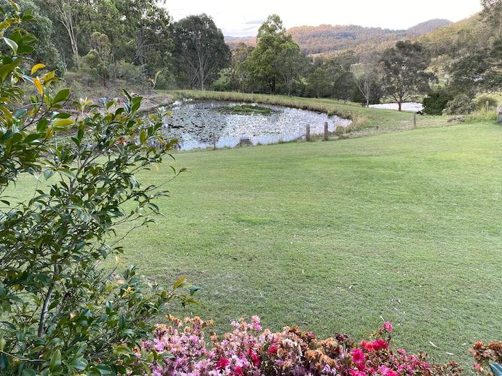 Bush farm located in quiet valley