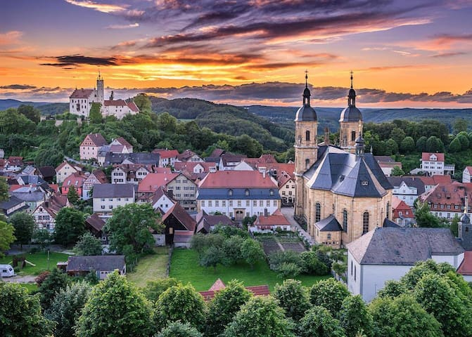 Beautiful view of the town with basilica and castle.