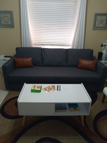 Just added new sleeper couch.  Chic and upscale , all mid century furniture. Great  look and feel. Very relaxing. Couch is very comfortable and pulls out into a large bed that sleeps 2