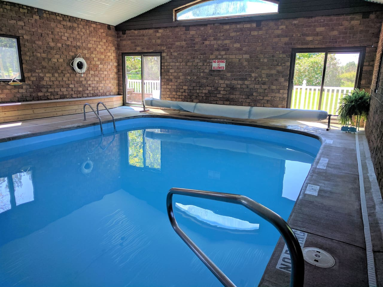 Indoor heated pool. Ready for you at 83 degrees. The 1-foot deep kiddie pool (not shown) is a favorite with the little ones!