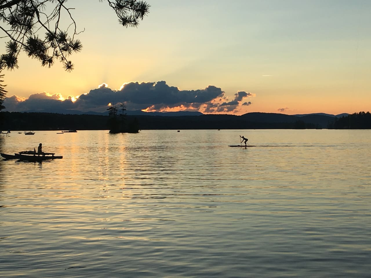 The sunsets cannot be beat from the lakefront of the Perley House's private peninsula