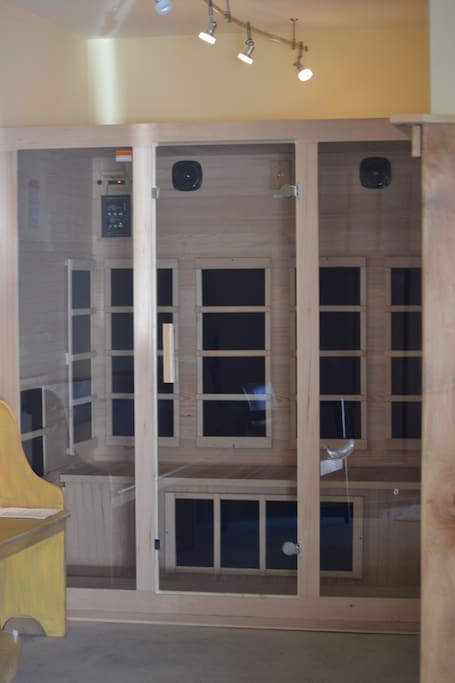 Infrared Sauna located on the first floor at the end of the entryway.