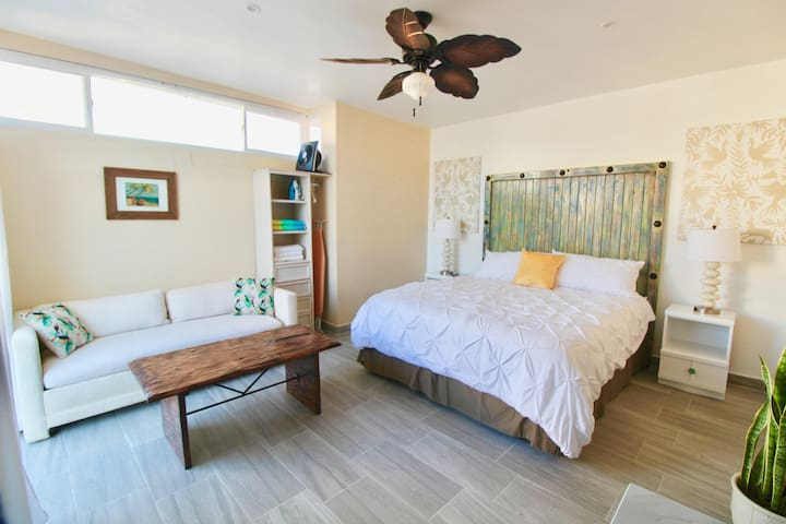 Interior of Villa #1. This unit includes a sleeper sofa & can accommodate 2 extra guests.