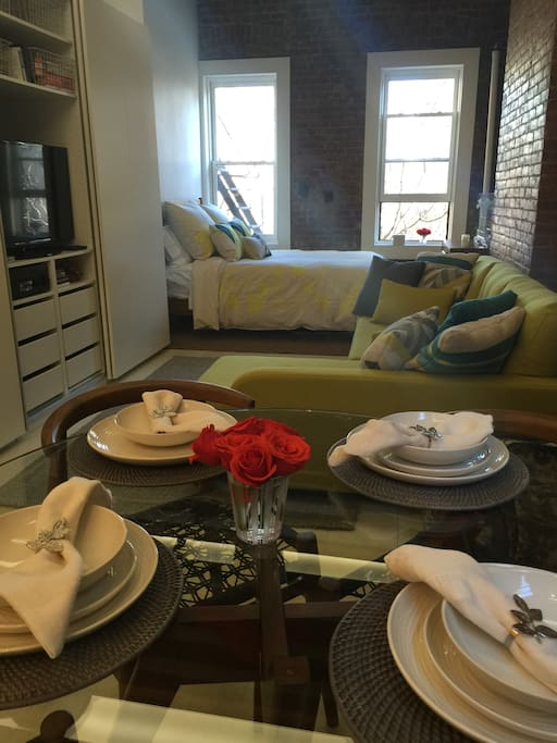 A dinning, living and bedroom area. Your private sanctuary in NYC