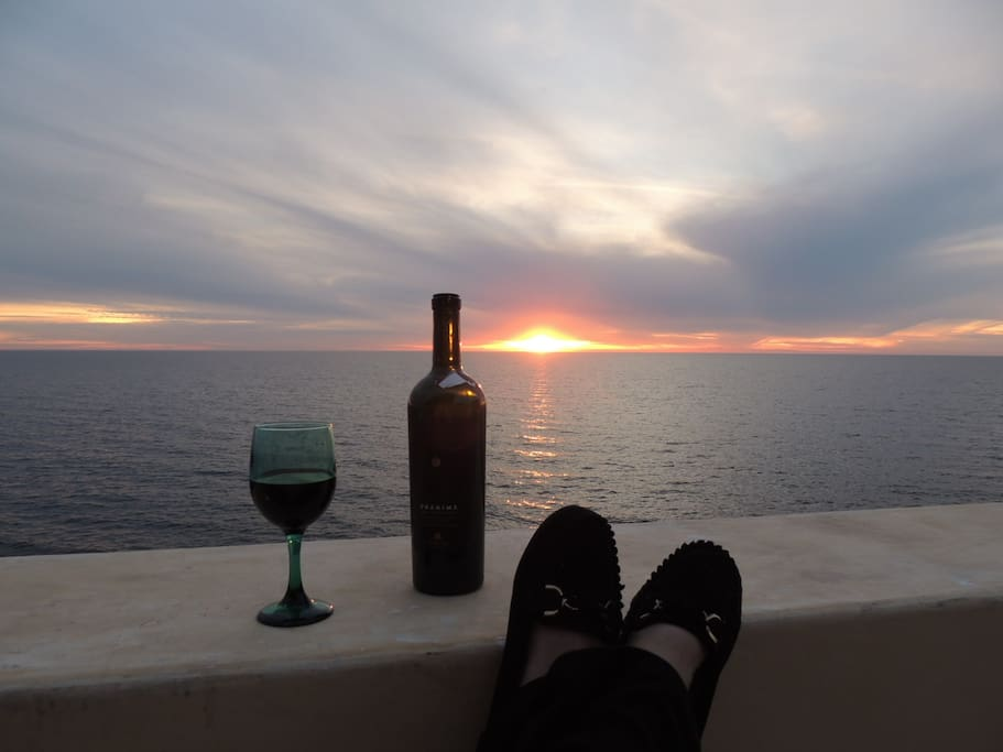 Sundown With a Glass of Wine