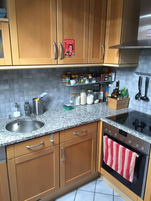 Kitchen with oven and electrics hotplates.