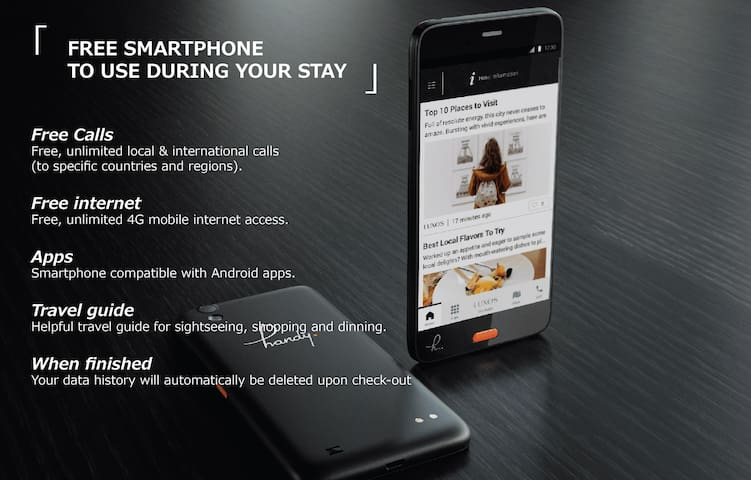 This is a smartphone which you can use for free during your stay.