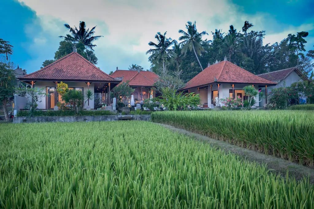 View of the villa from the rice fields