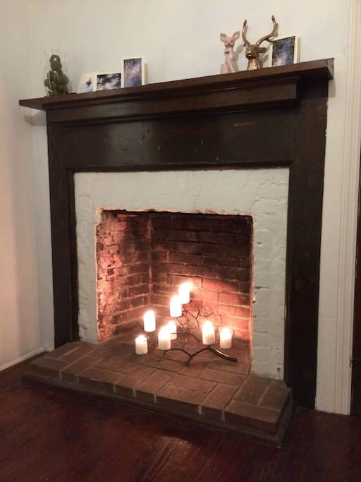 Relax....Your own decorative fireplace with whimsical candelabra!