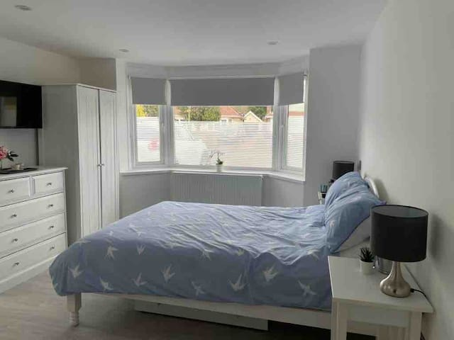 Lovely light space with blackout blinds for sleeping