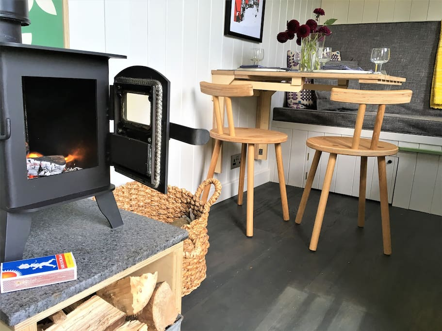 Wood-burning stove enables year round use