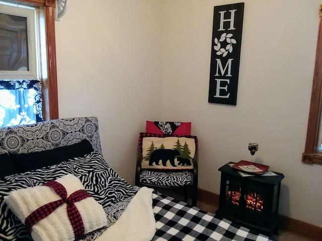Double bed in guest bedroom