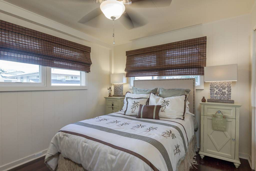 One of two nicely appointed bedrooms.