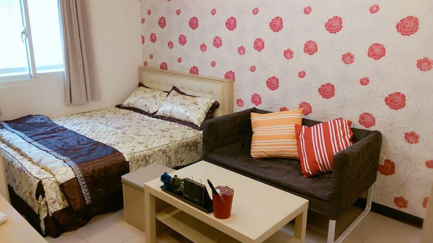 桃園火車站旁10分鐘溫馨雙人床小套房附第四台Wi-Fi 洗衣機衛浴全配 - Taoyuan City - อพาร์ทเมนท์