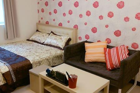 桃園火車站旁10分鐘溫馨雙人床小套房附第四台Wi-Fi 洗衣機衛浴全配 - Taoyuan City - 公寓