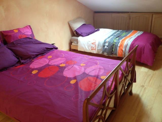 les couchages sur la mezzanine