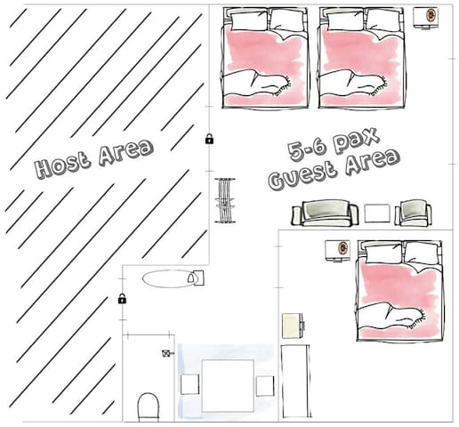 Guesthouse bed arrangements for five to six guests