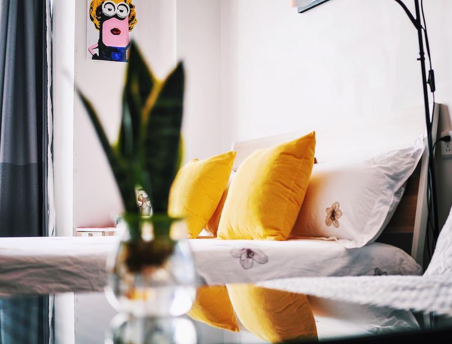 柔软舒适的1.5m双人床、1.4m沙发床(收放很方便)