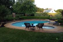 The pool and hot tub is open from May through September.