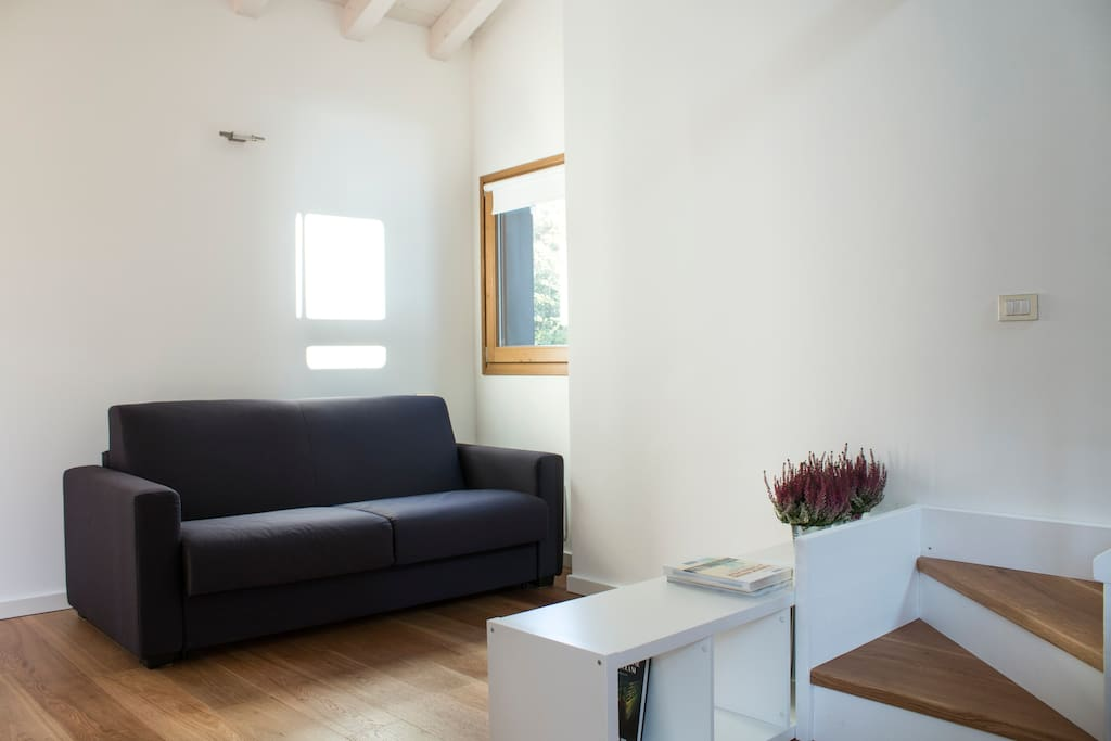 Open space angolo soggiorno con divano letto