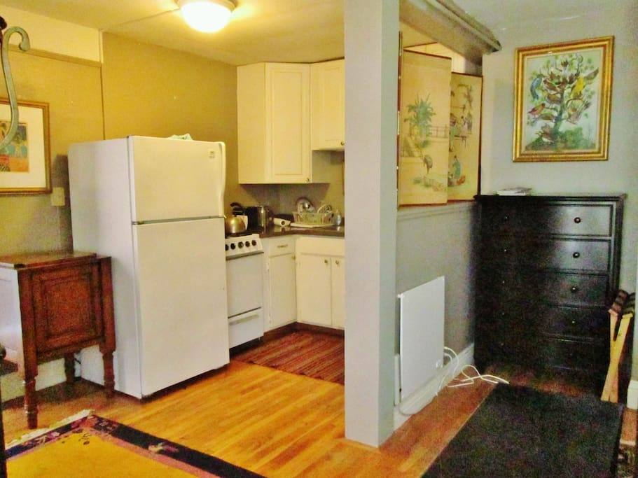 Kitchen separated by half wall from main room