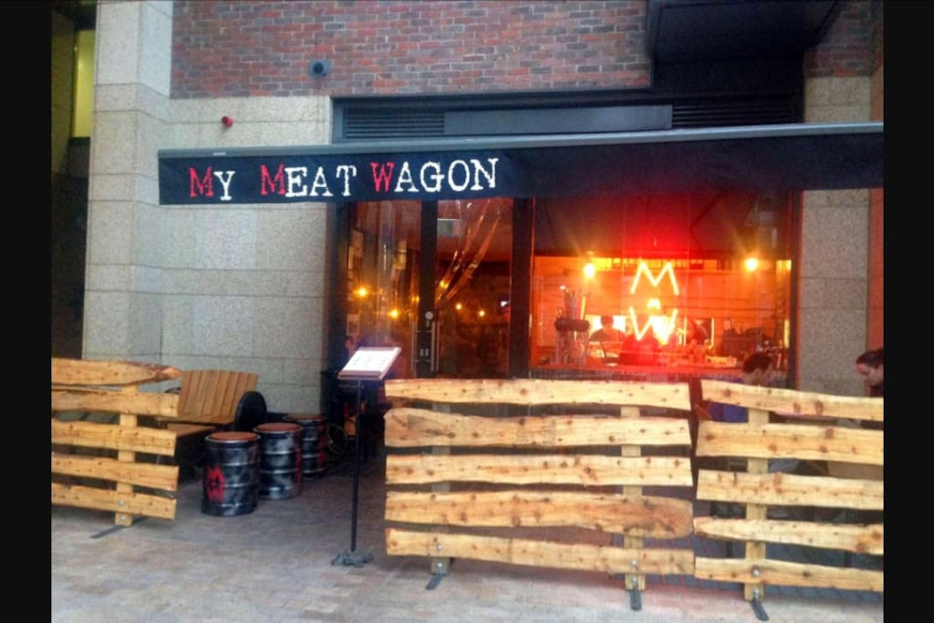 The amazing restaurant my meat wagon 5 minutes walk from the house .