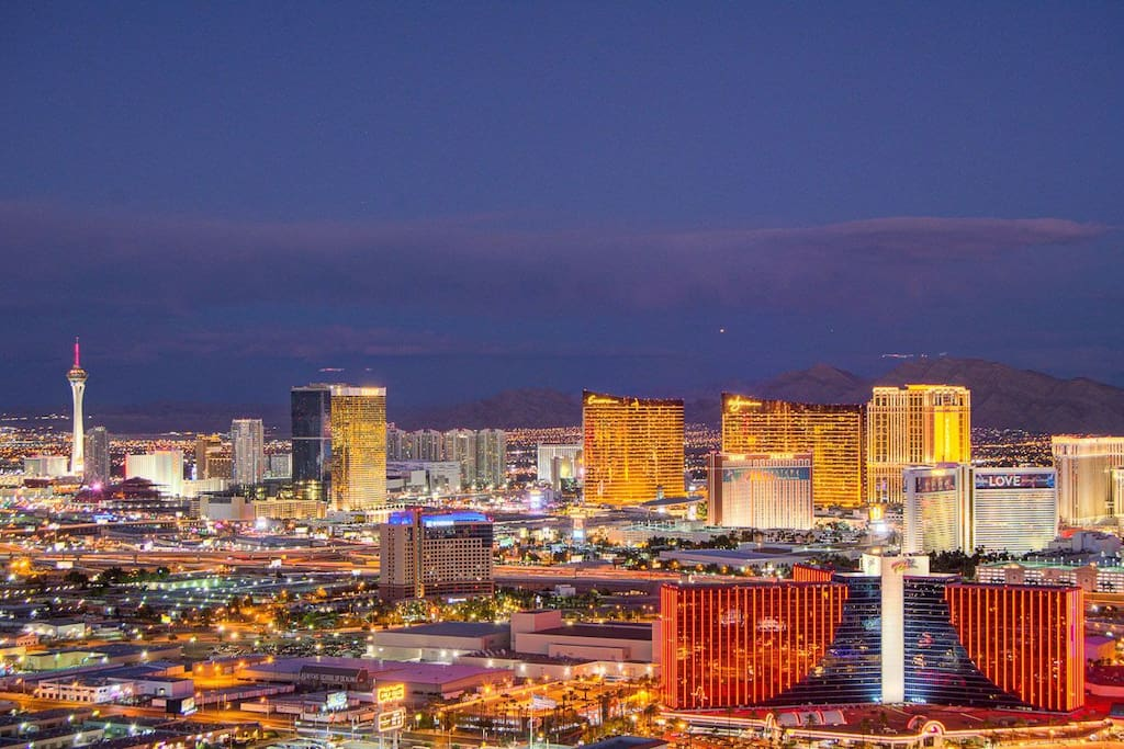 Strip views in the evening. Hands down best panoramic view of the Strip.