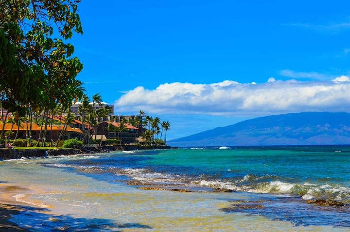 Honokawai Charm with Oceanview Across from Beach