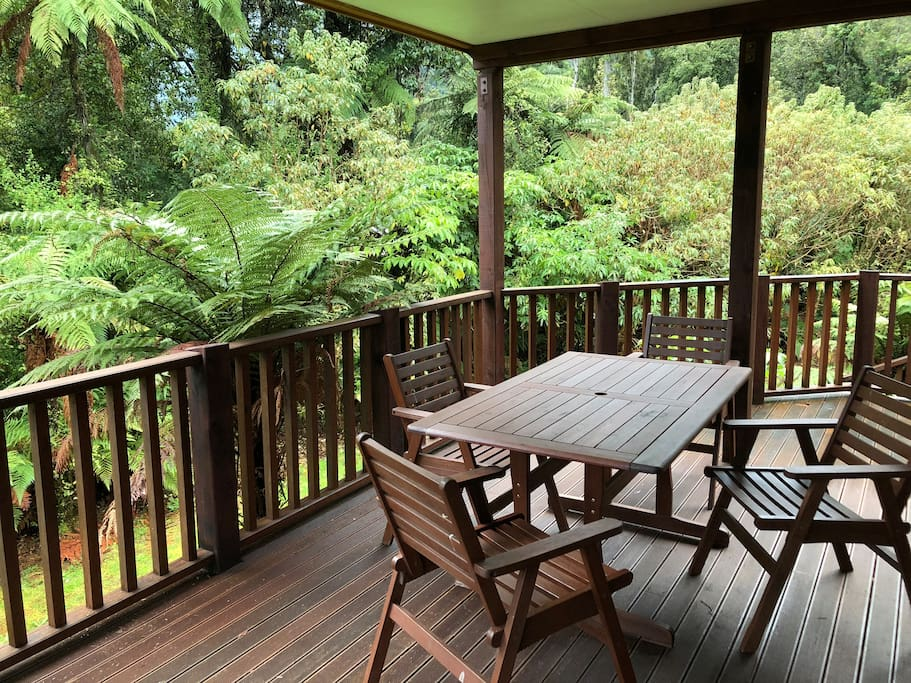 The expansive deck wraps around two side of the house and is a fantastic place to share breakfast with the birds or to enjoy the afternoon sun after a day on the glacier.