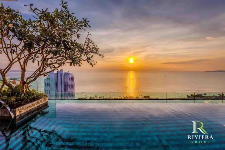全新Riviera Jomtien五星级海景度假公寓 高层大床房 180正海景推窗望海#度假蜜月首选
