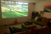 """Media Room with 139"""" screen from HDTV projector"""