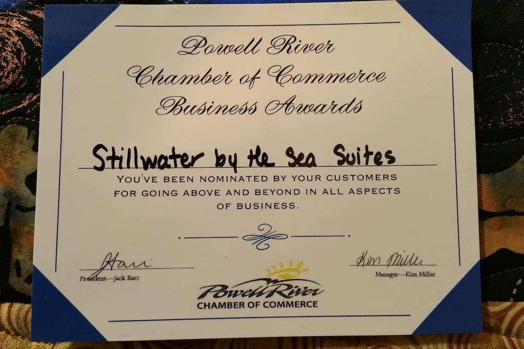 We are very proud of Stillwater by the Sea Suites, of course it is our wonderful guests that make it so very special, thank you.