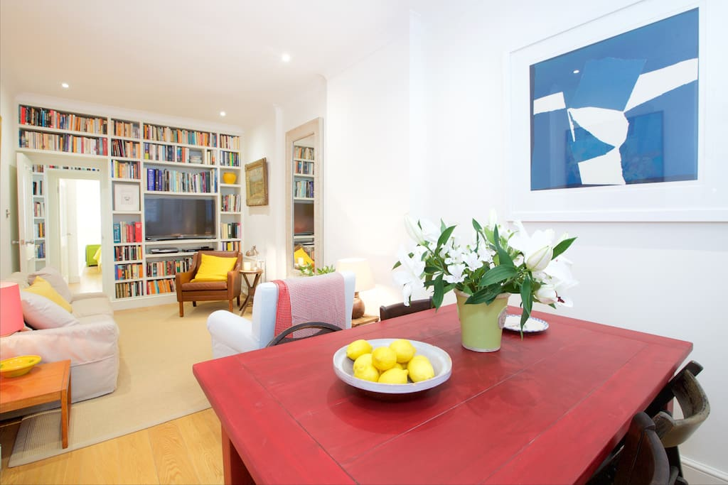 The open plan living and dinning area is light, bright and wonderfully decorated.