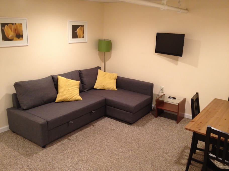 Spacious living room with brand new couch, dining table, chairs, & new flat-screen smart TV. Couch converts to a double bed if needed.
