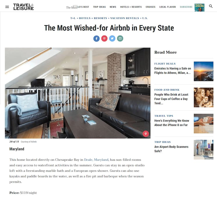 Celebrating that we were named by TRAVEL + LEISURE as top Airbnb in Maryland!