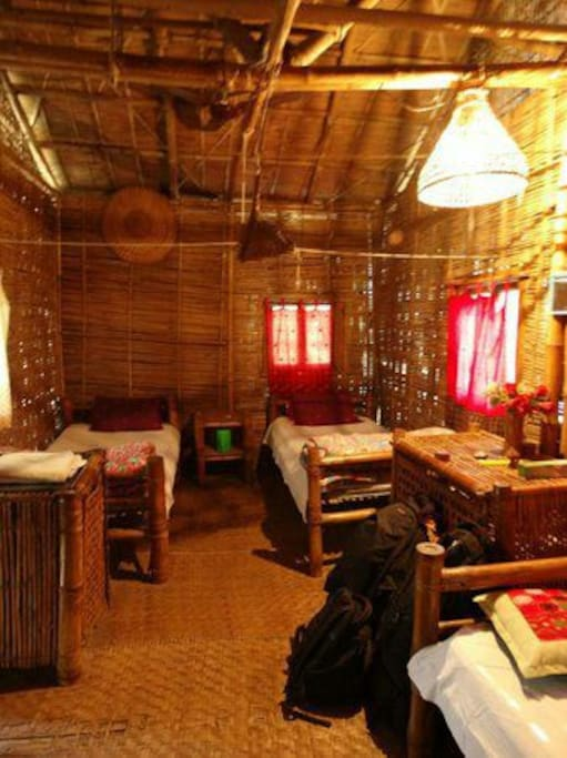 Bedroom made of bamboos
