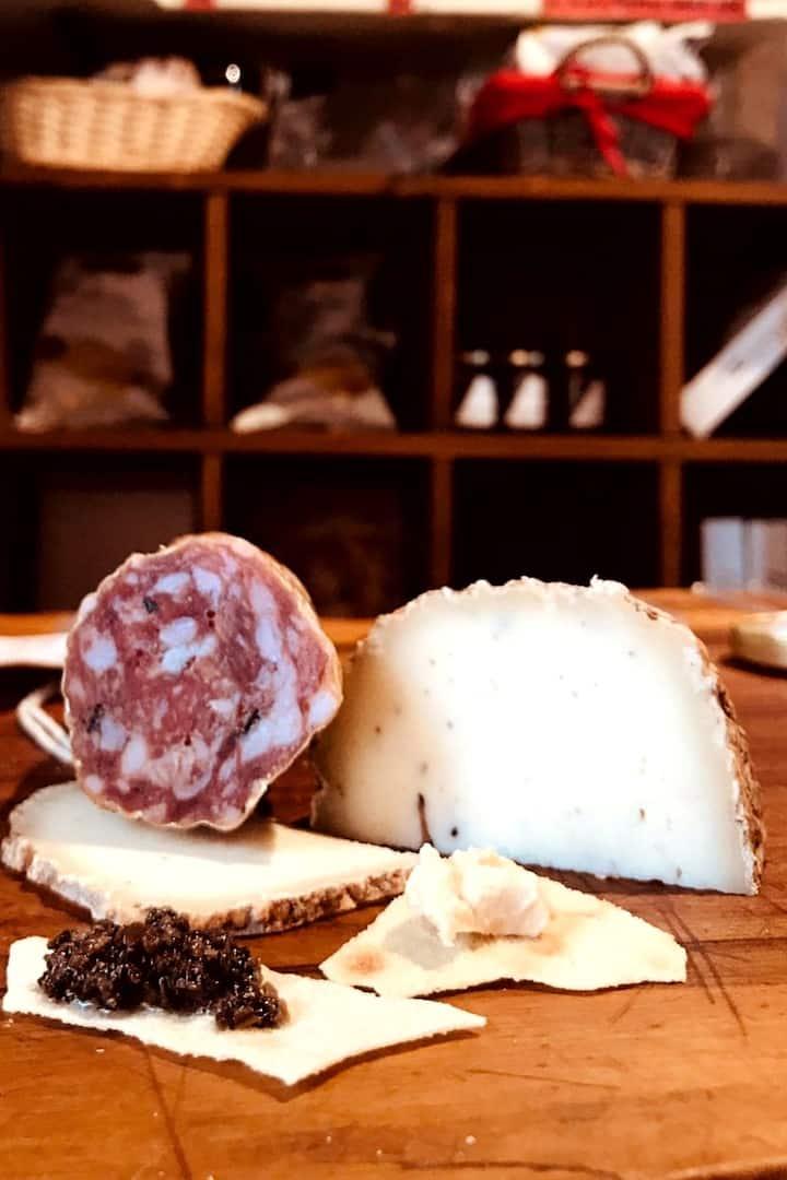 Pecorino and salami with truffle