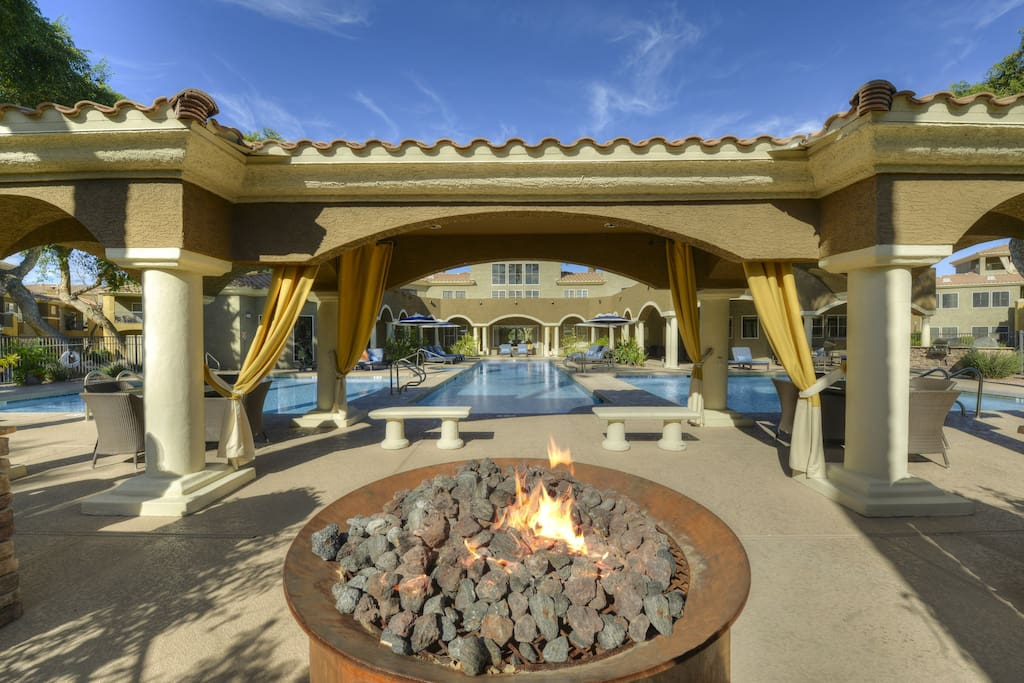 Resort Style Pools with Firepit