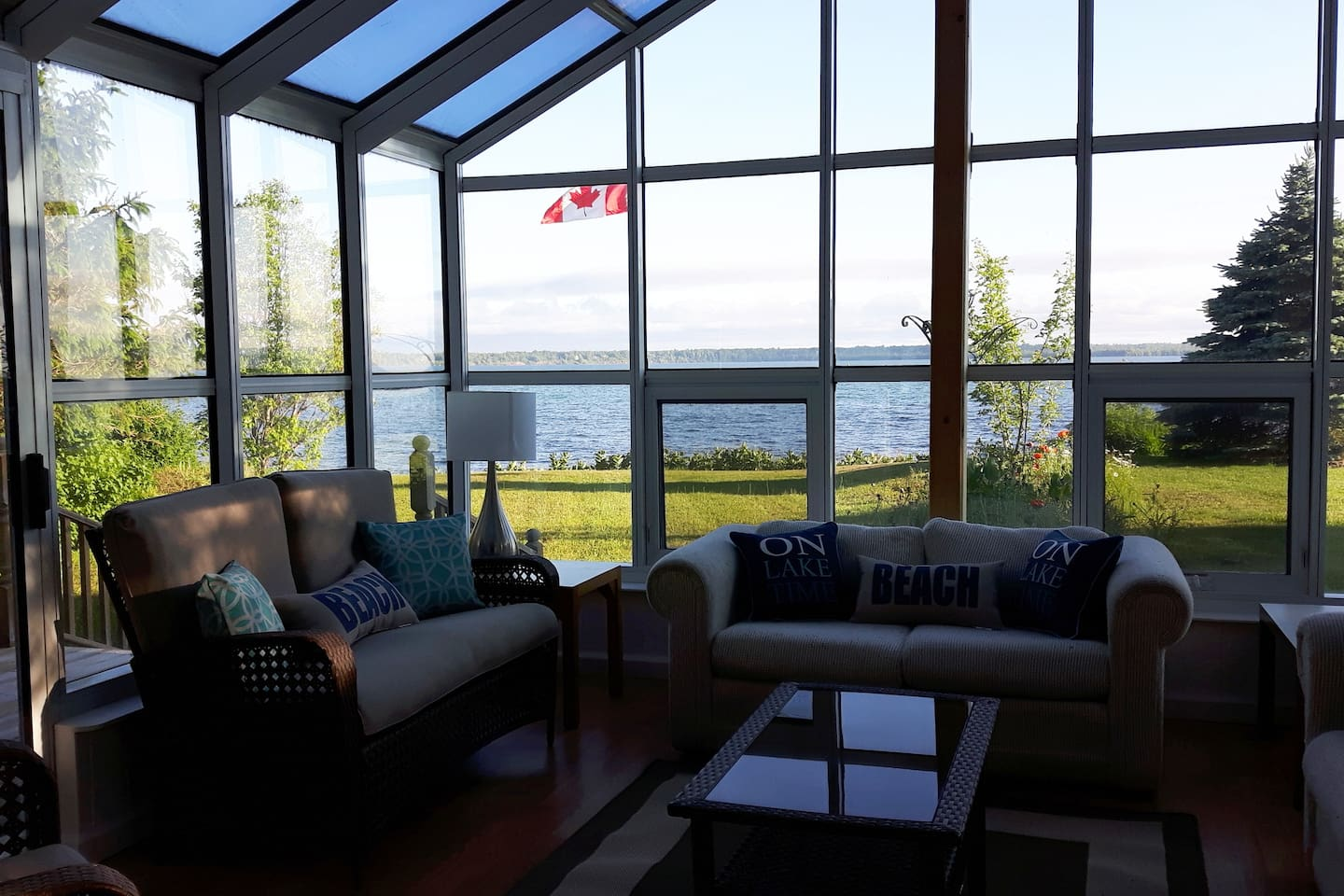 Summer view of Lake Superior from Cottage Sun Room