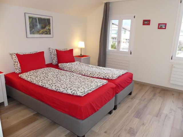 Interlaken Adventure B&B in Bönigen, Red room - Bönigen - Oda + Kahvaltı