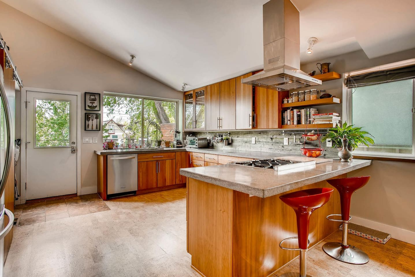 The kitchen is full of sunshine and tons of space