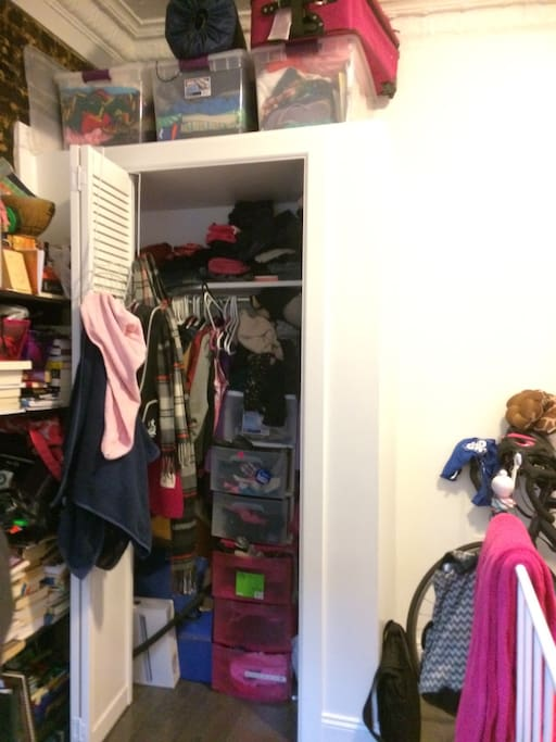 Closet would be half full for you. Also provided is 3x3 white cube storage, perfect for pants, underwear, and other belongings.