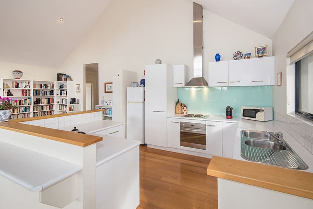 A fully equipped kitchen, including a dishwasher.