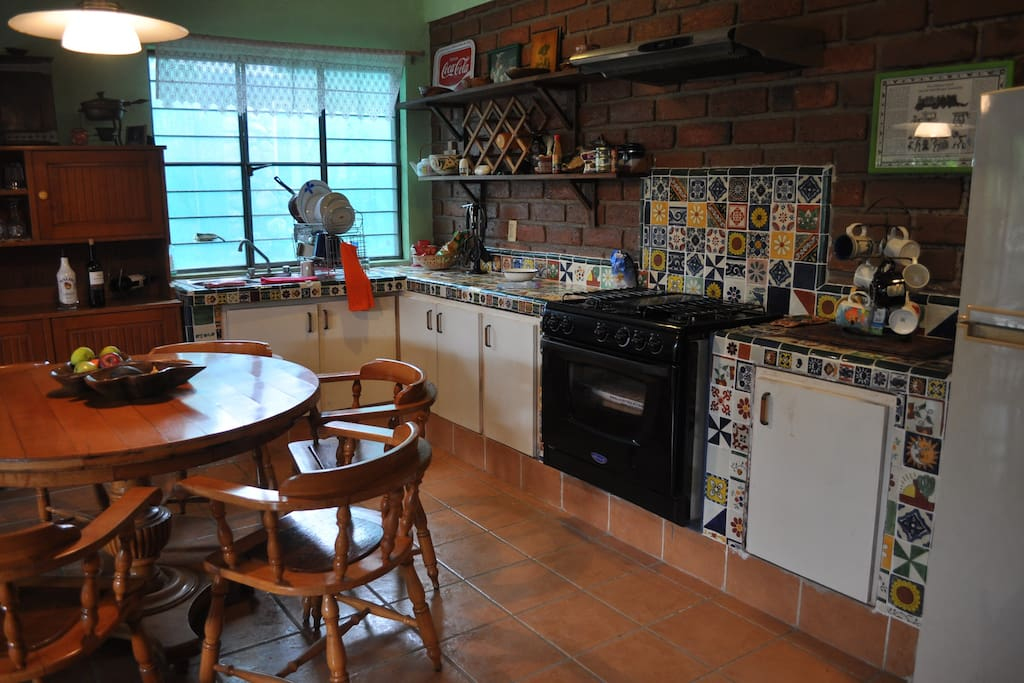 Kitchen is decorated with talavera tiles