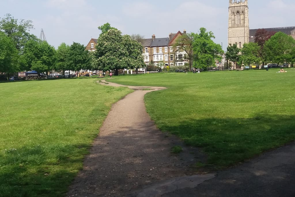Clapham Common (at the end of the road)