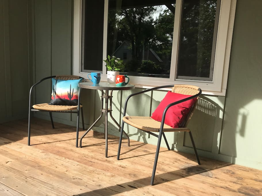 The front porch—a great spot for coffee in the morning