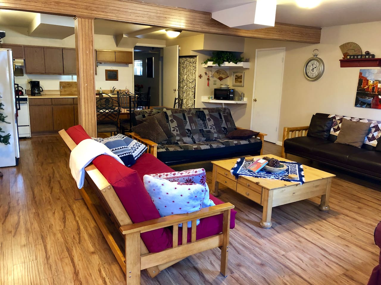 "Welcome to Mountain Hospitality! The main room greets you as you enter with a sense of ""home away from home.""  Plenty of space for relaxing and enjoying your stay."