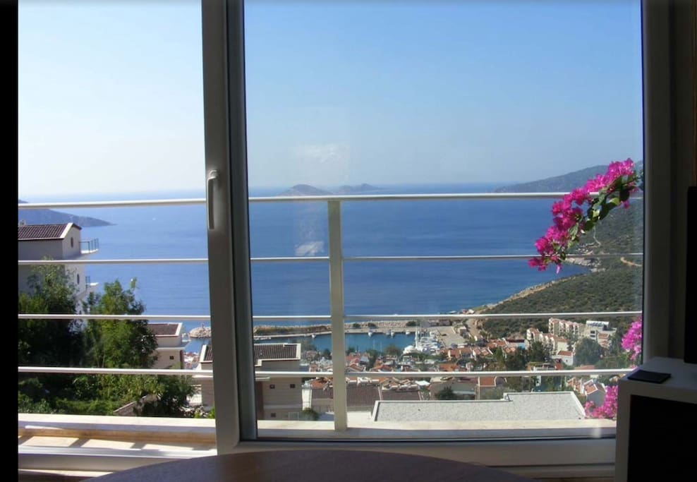 View of the town and bay from the lounge
