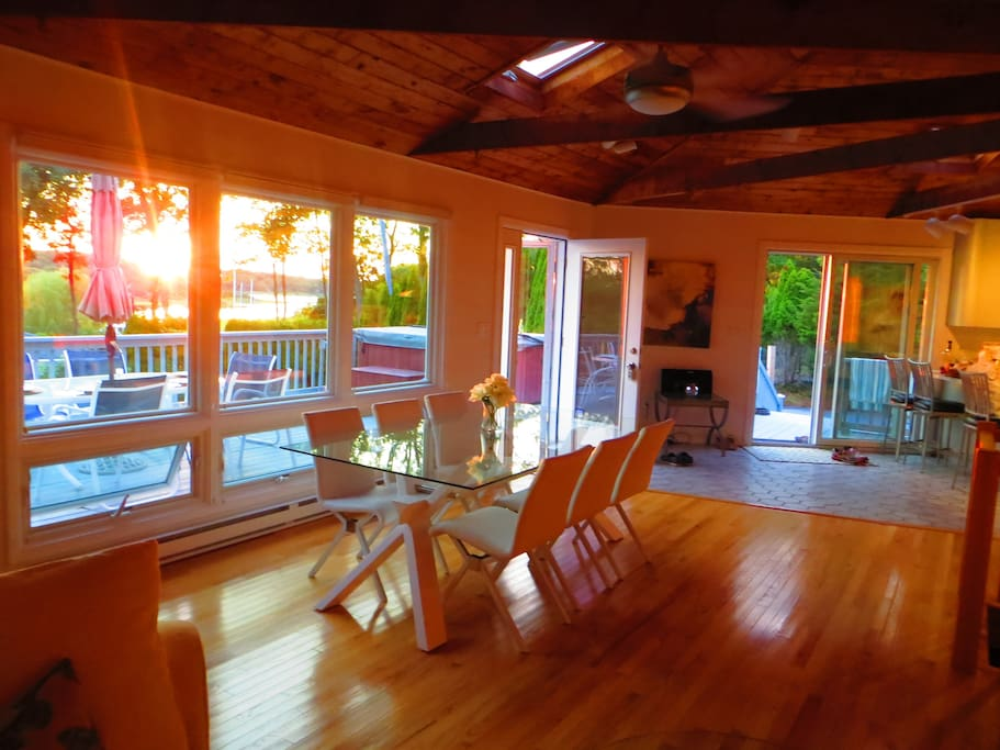 Sunset, Dining Room, Kitchen to Right, Two Additional Chairs for Head and Foot